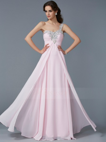 A-Line/Princess Sleeveless Floor-Length Chiffon One-Shoulder Beading,Applique Dresses