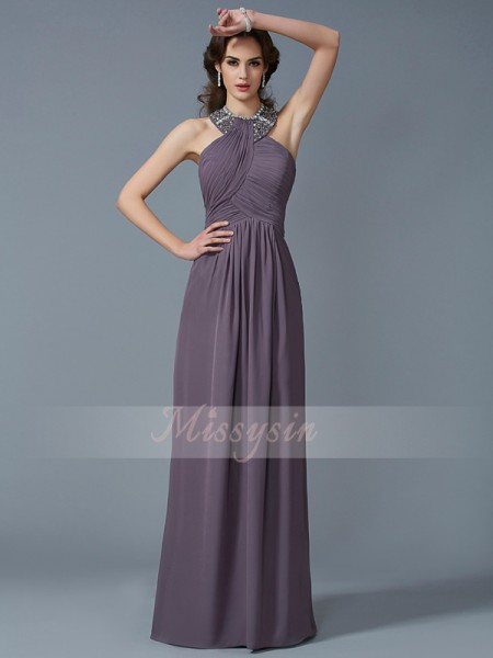 Sheath/Column Sleeveless Floor-Length Chiffon High Neck Beading Dresses