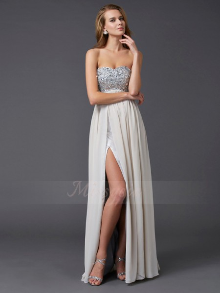 A-Line/Princess Sleeveless Floor-Length Chiffon Sweetheart Rhinestone Dresses