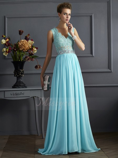 A-Line/Princess Sleeveless Sweep/Brush Train Chiffon Straps Beading,Lace Dresses