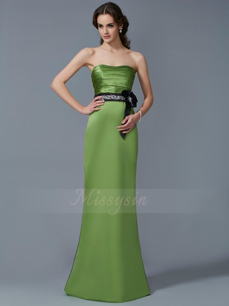 Sheath/Column Sleeveless Floor-Length Satin Strapless Sash/Ribbon/Belt Dresses