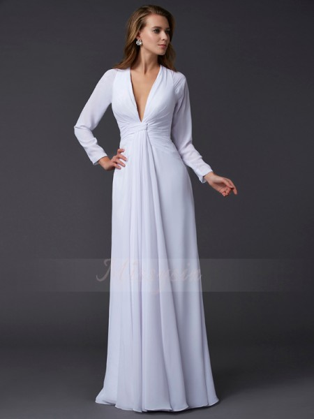 Sheath/Column Long Sleeves Floor-Length Chiffon V-neck Ruched Dresses