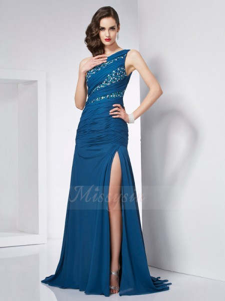 A-Line/Princess Sleeveless Sweep/Brush Train Chiffon One-Shoulder Beading Dresses