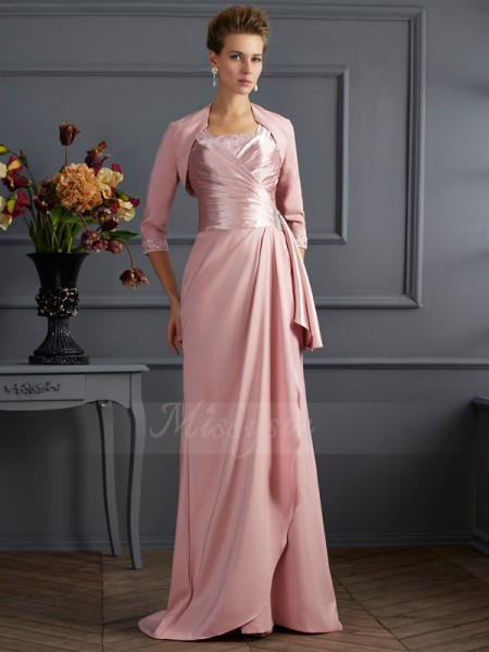 Sheath/Column Sleeveless Sweep/Brush Train Elastic Woven Satin Straps Mother Of The Bride Dresses