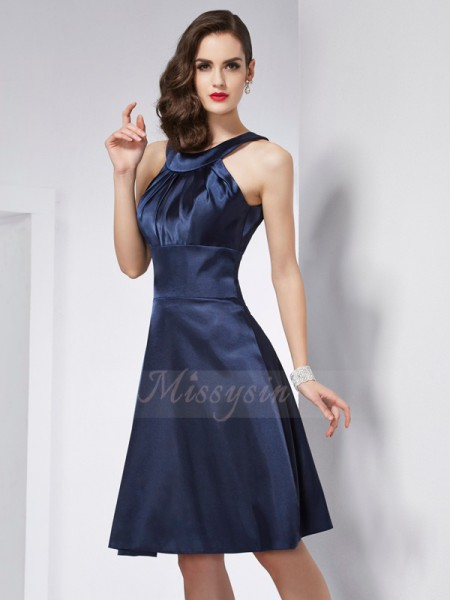 A-Line/Princess Sleeveless Knee-Length Elastic Woven Satin Scoop Pleats Dresses