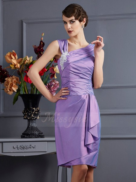 Sheath/Column Sleeveless Knee-Length Taffeta Other Applique Bridesmaid Dresses