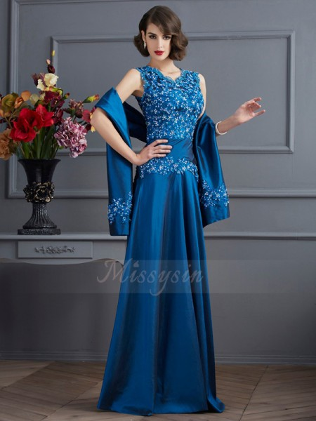 A-Line/Princess Sleeveless Floor-Length Taffeta V-neck Beading,Applique Dresses