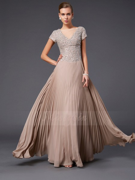 A-Line/Princess Short Sleeves Floor-Length Chiffon V-neck Beading Dresses