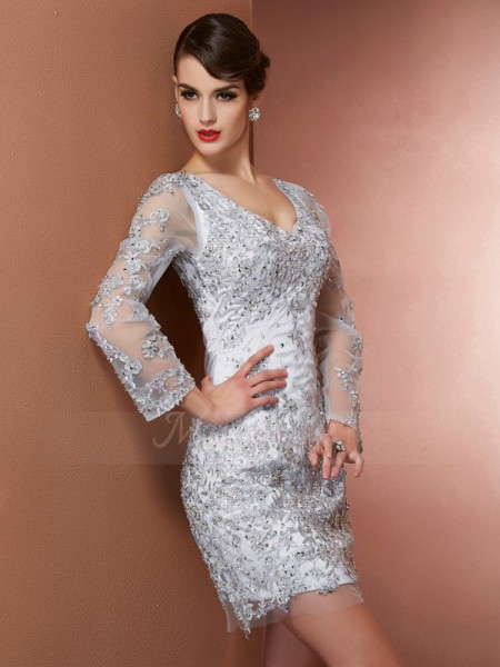 Sheath/Column Long Sleeves Short/Mini Elastic Woven Satin V-neck Beading,Applique Mother Of The Bride Dresses
