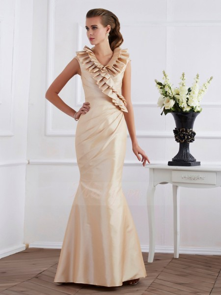 Sheath/Column Short Sleeves Floor-Length Taffeta V-neck Ruffles Dresses