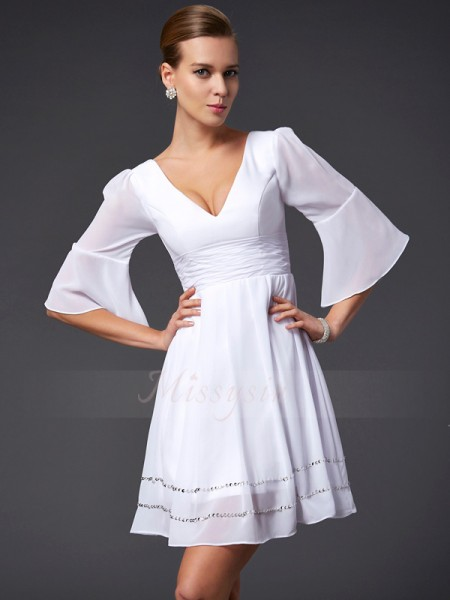 A-Line/Princess 1/2 Sleeves Short/Mini Chiffon V-neck Beading Dresses