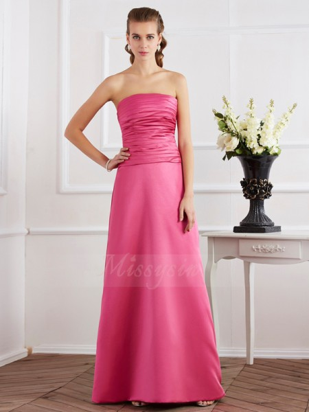 Sheath/Column Sleeveless Floor-Length Satin Strapless Pleats Dresses
