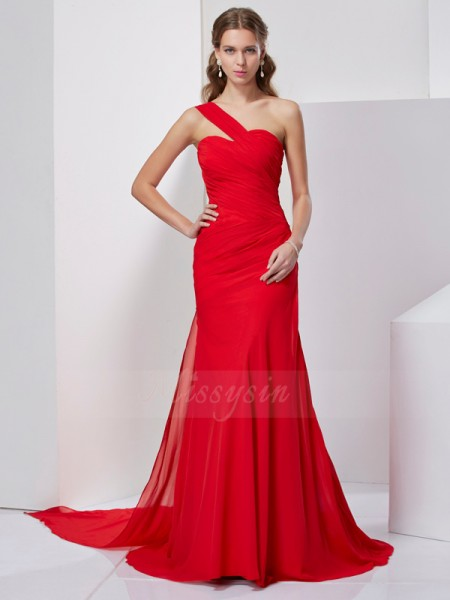A-Line/Princess Sleeveless Sweep/Brush Train Chiffon One-Shoulder Pleats Dresses