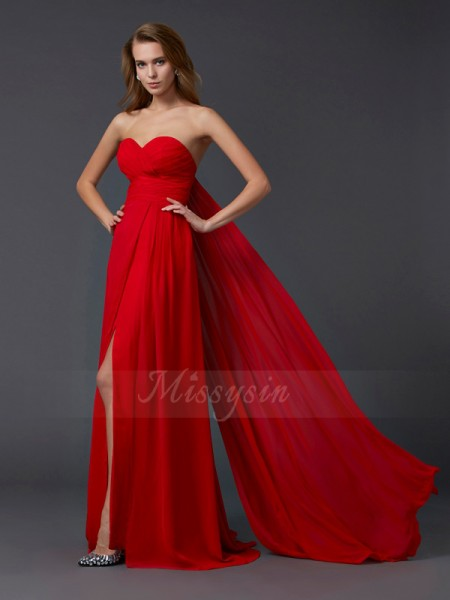 A-Line/Princess Sleeveless Floor-Length Chiffon Sweetheart Pleats Dresses