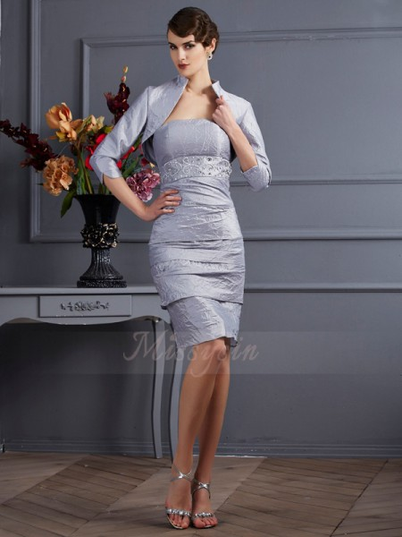 Sheath/Column Sleeveless Knee-Length Taffeta Strapless Dresses