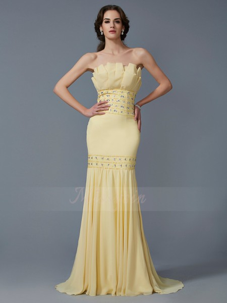 Trumpet/Mermaid Sleeveless Sweep/Brush Train Chiffon Strapless Beading Dresses