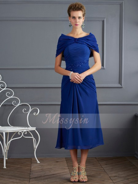 Sheath/Column Short Sleeves Short/Mini Chiffon Scoop Beading Mother Of The Bride Dresses