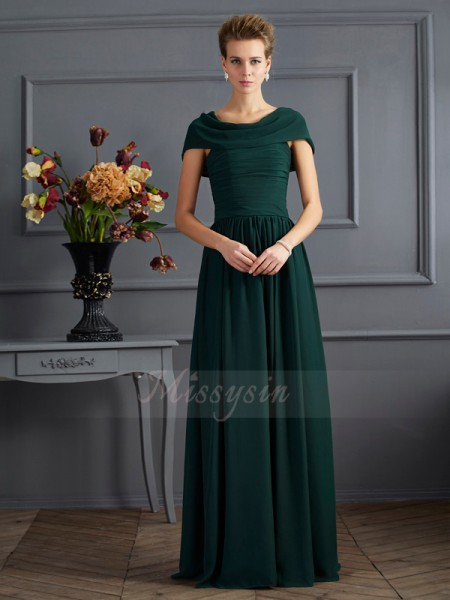 A-Line/Princess Short Sleeves Floor-Length Chiffon Scoop Pleats Mother Of The Bride Dresses