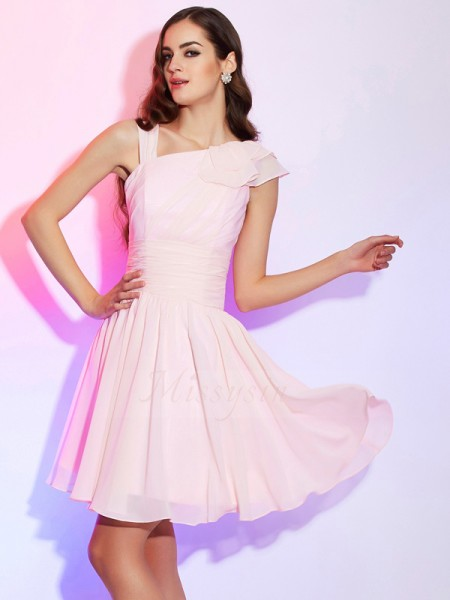 A-Line/Princess Sleeveless Short/Mini Chiffon Other Pleats Cocktail Dresses
