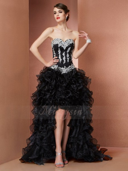 A-Line/Princess Sleeveless Asymmetrical Organza Sweetheart Beading,Applique Dresses