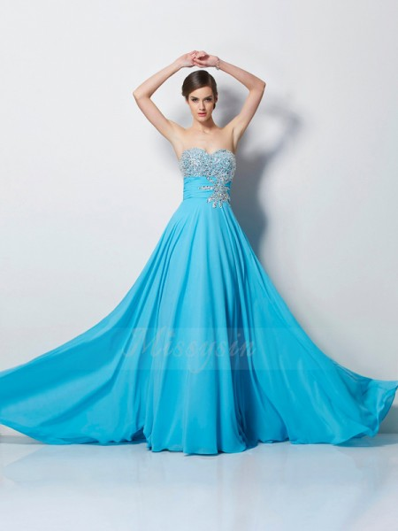 A-Line/Princess Sleeveless Sweep/Brush Train Chiffon Sweetheart Beading Dresses