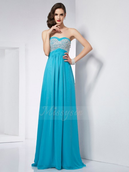 A-Line/Princess Sleeveless Floor-Length Chiffon Sweetheart Dresses