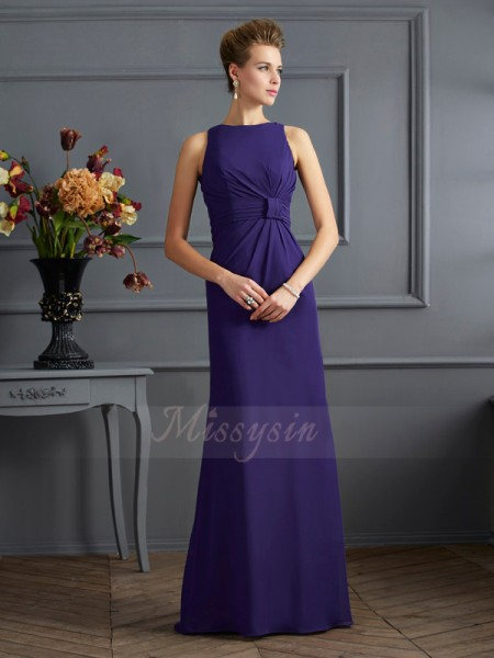 Sheath/Column Sleeveless Floor-Length Chiffon Bateau Pleats Dresses