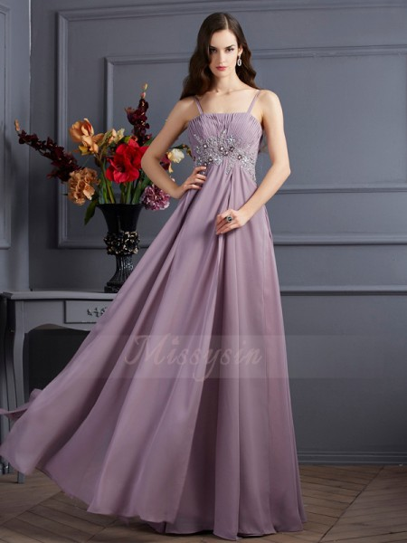 Empire Sleeveless Floor-Length Chiffon Spaghetti Straps Beading Dresses