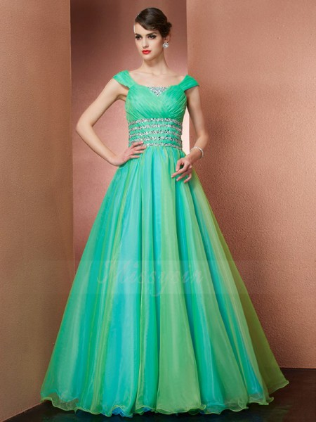 Ball Gown Sleeveless Floor-Length Satin Off-the-Shoulder Beading Dresses