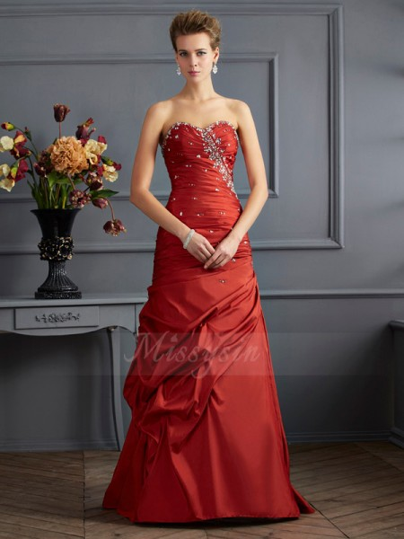 Trumpet/Mermaid Sleeveless Floor-Length Taffeta Sweetheart Beading Dresses