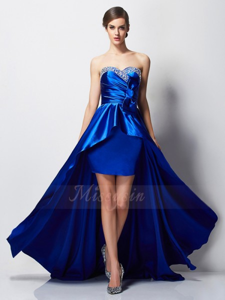 A-Line/Princess Sleeveless Asymmetrical Elastic Woven Satin Sweetheart Beading Dresses