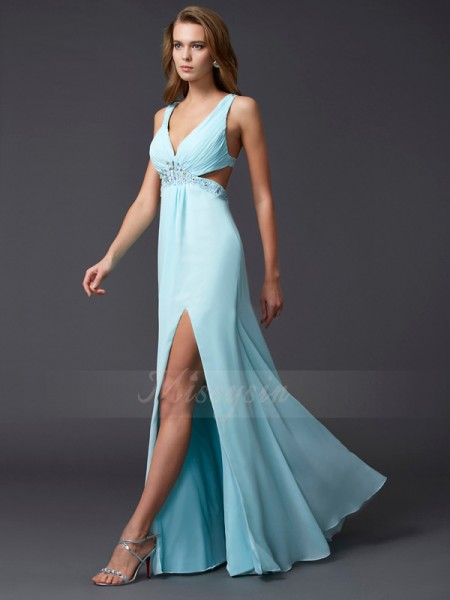 Sheath/Column Sleeveless Floor-Length Chiffon V-neck Beading Dresses