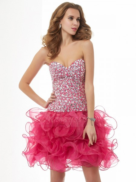 Sheath/Column Sleeveless Short/Mini Organza Sweetheart Beading Cocktail Dresses