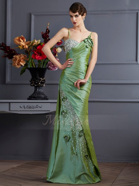 Trumpet/Mermaid Sleeveless Floor-Length Taffeta Spaghetti Straps Beading Dresses
