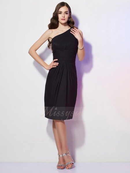 Sheath/Column Sleeveless Knee-Length Chiffon One-Shoulder Beading Dresses