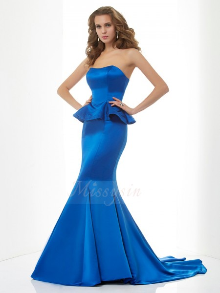 Trumpet/Mermaid Sleeveless Sweep/Brush Train Satin Sweetheart Dresses