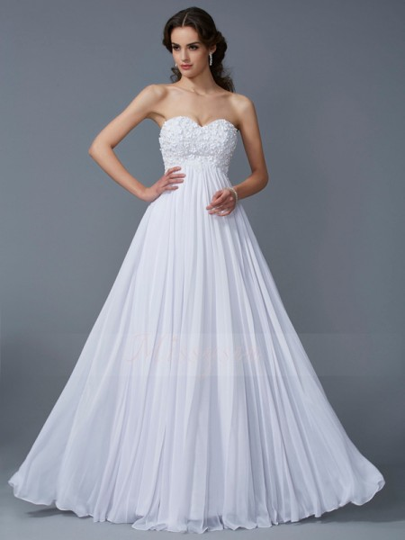 A-Line/Princess Sleeveless Floor-Length Chiffon Sweetheart Ruffles Dresses