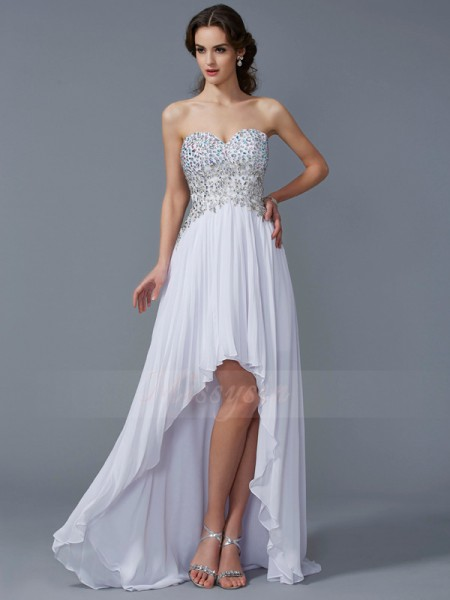 A-Line/Princess Sleeveless Asymmetrical Chiffon Sweetheart Beading Dresses
