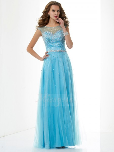 Sheath/Column Sleeveless Floor-Length Net High Neck Beading Dresses