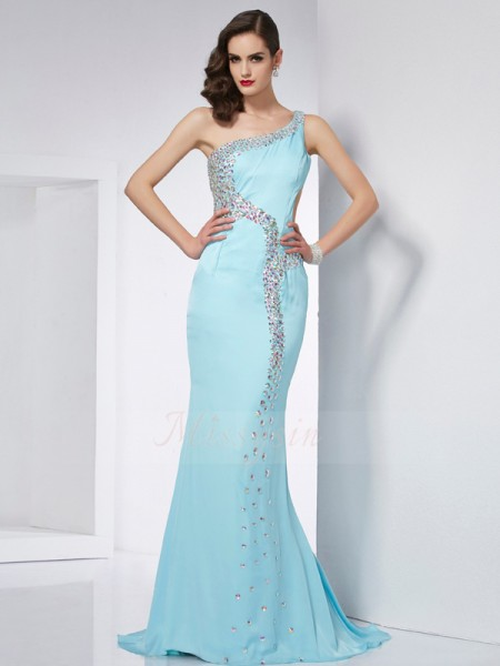 Trumpet/Mermaid Sleeveless Sweep/Brush Train Chiffon One-Shoulder Beading Dresses
