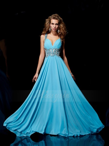 A-Line/Princess Sleeveless Sweep/Brush Train Chiffon Straps Beading Dresses