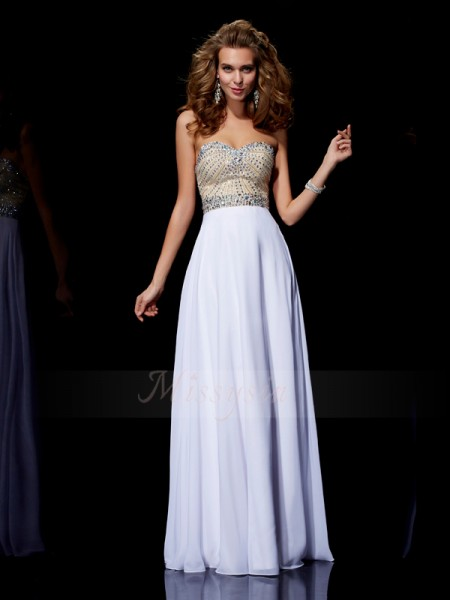 A-Line/Princess Sleeveless Floor-Length Chiffon Sweetheart Beading Dresses