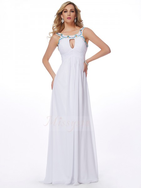 Sheath/Column Sleeveless Sweep/Brush Train Chiffon Scoop Beading Dresses