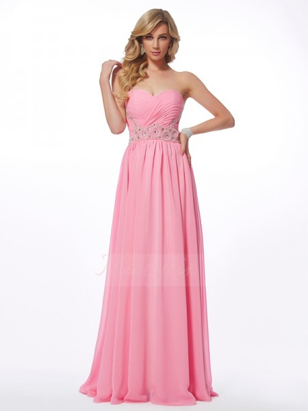 A-Line/Princess Sleeveless Floor-Length Chiffon Sweetheart Applique Dresses