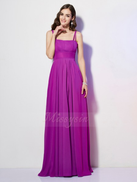 Sheath/Column Sleeveless Floor-Length Chiffon Spaghetti Straps Pleats Dresses