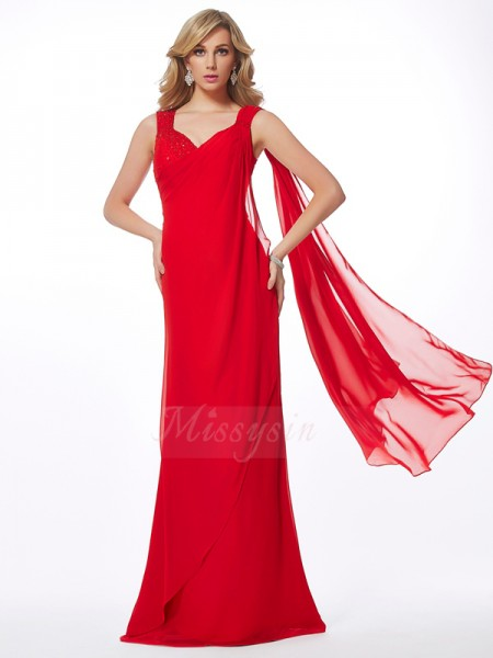 Sheath/Column Sleeveless Floor-Length Chiffon Straps Beading Dresses