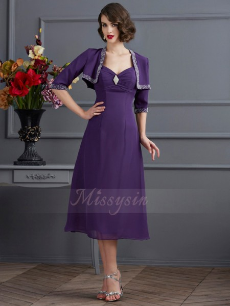 A-Line/Princess Sleeveless Tea-Length Chiffon Spaghetti Straps Beading Dresses