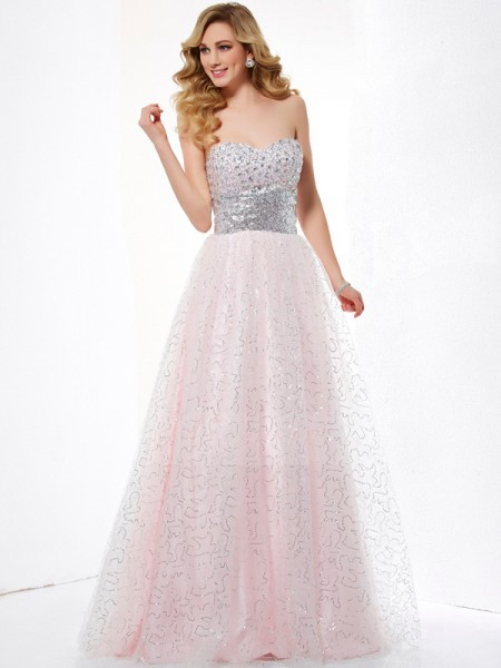 Ball Gown Sleeveless Floor-Length Net,Satin Sweetheart Dresses