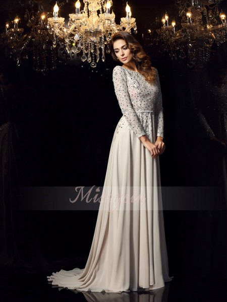 A-Line/Princess Long Sleeves Scoop Beading Court Train Chiffon Dresses