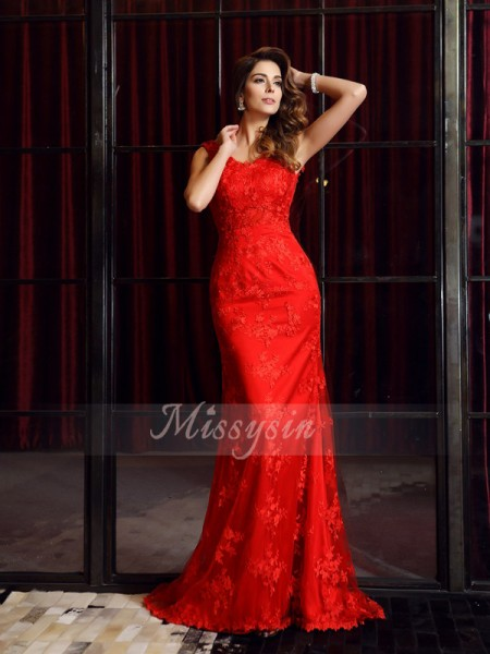 Trumpet/Mermaid Sleeveless V-neck Applique Sweep/Brush Train Lace Dresses